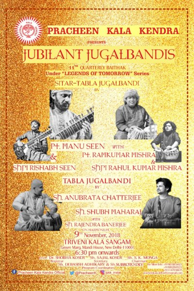 JUBILANT JUGALBANDIS, the 11th Quarterly Baithak under the series Legends of Tomorrow being organized by Pracheen Kala Kendra