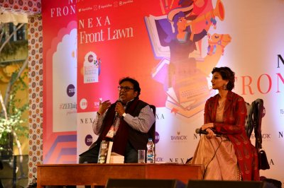 Sonali Bendre launches bestselling author Ashwin Sanghis new book The Vault of Vishnu at JLF 2020